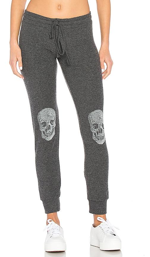 Lauren Moshi Kizzy Heart Skull Classic Sweatpant in Black
