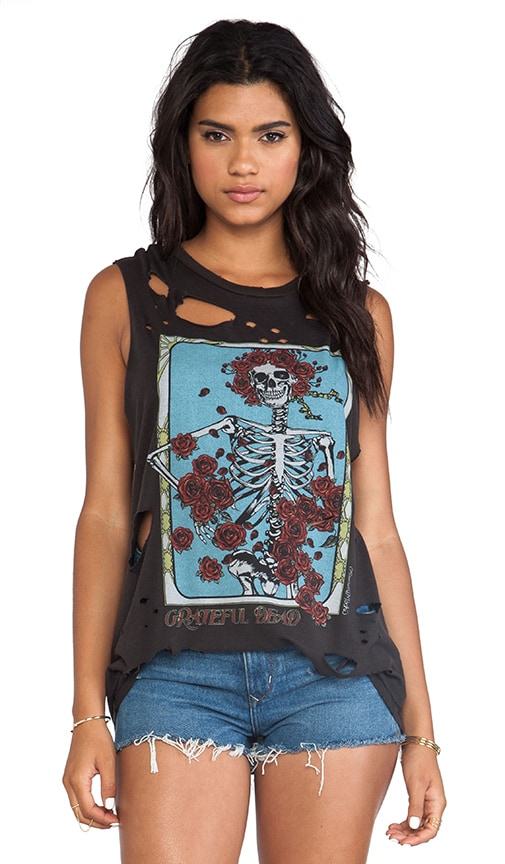 Roxanne Grateful Dead Rose Skeleton Vintage Muscle Tee