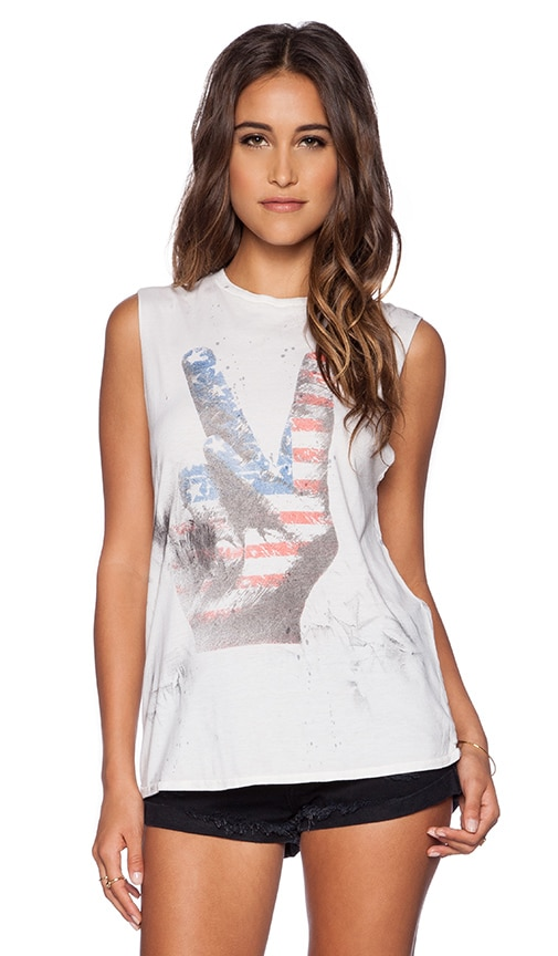 Lauren Moshi Flag Peace Hand Roxane Muscle Tee in Paint Stain