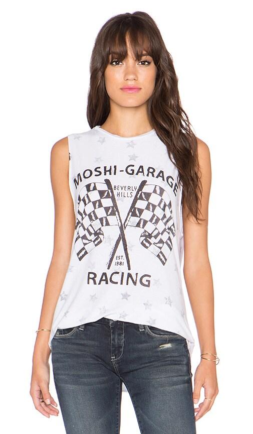 Lauren Moshi Roxane Moshi Racing Vintage Muscle Tee in Reverse White