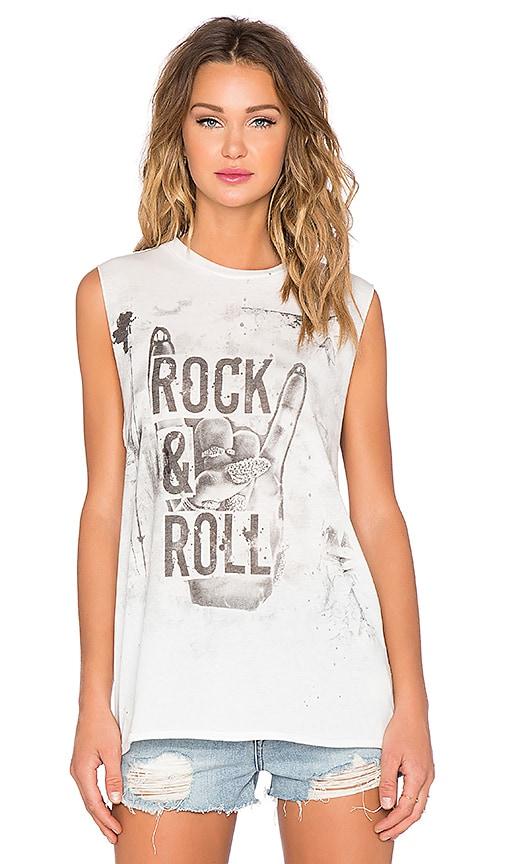 Lauren Moshi Roxanne Rock & Roll Hand Muscle Tee in Paint Stain