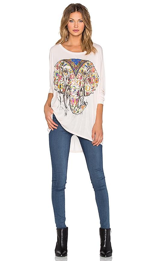 Lauren Moshi Kayla Large Floral Elephant Long Sleeve Top in Blush Almond