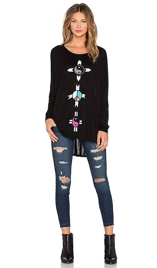 Lauren Moshi Kayla Elements Long Sleeve Oversized Cape Top in Black