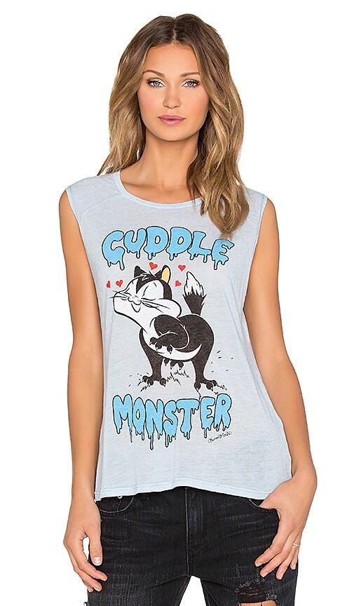 Lauren Moshi Riley Cuddle Monster Muscle Tank in Vintage Blue