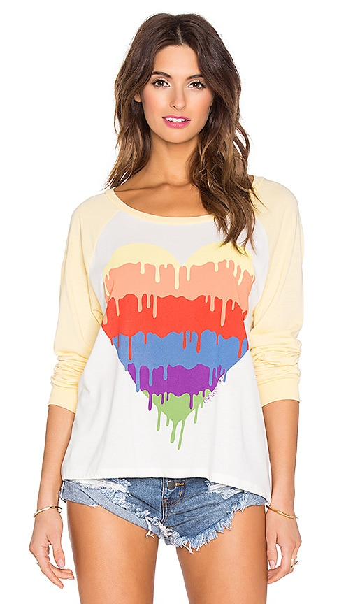 Lauren Moshi Nola Dripping Heart Tee in Faded White & Custard