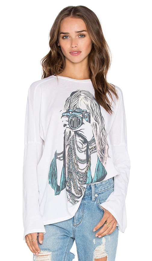 Lauren Moshi Patsy Color Camera Girl Bell Sleeve Tee in White