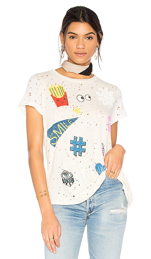 Lauren Moshi Bess Love & Smile Tee in White