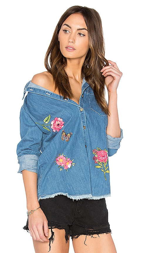 Lauren Moshi Sloane Button Up Denim Shirt in Classic Wash