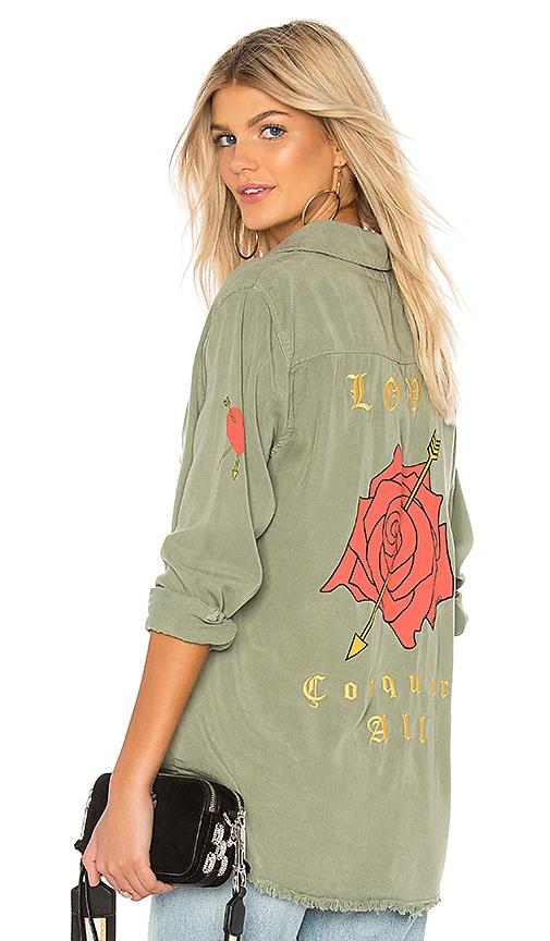 Lauren Moshi Sloan Button Up Shirt in Army