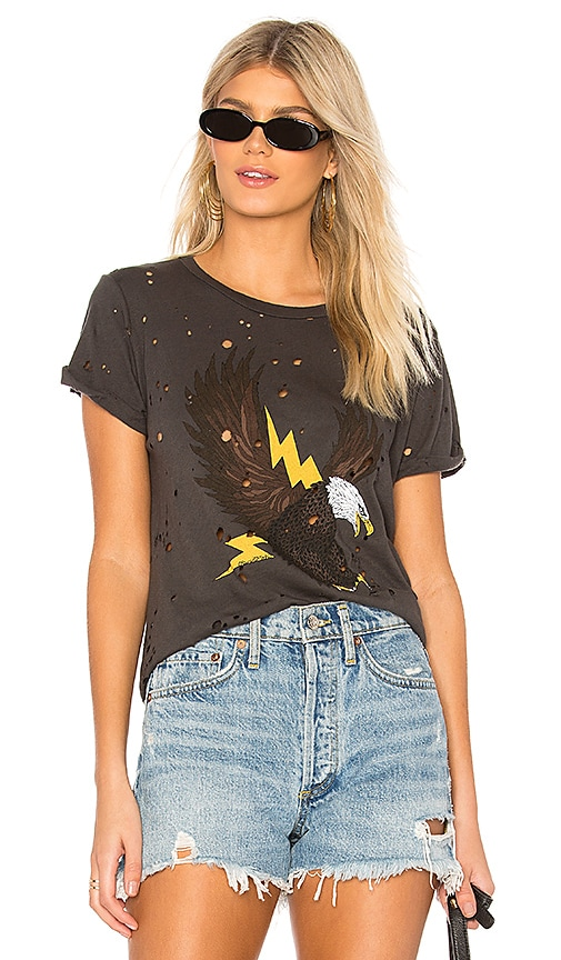 Lauren Moshi Limp Lightning Eagle Tee in Charcoal