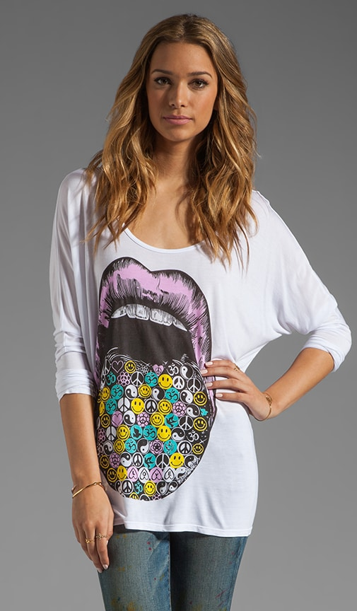 Ruby Color Hippie Lips Oversized Tee