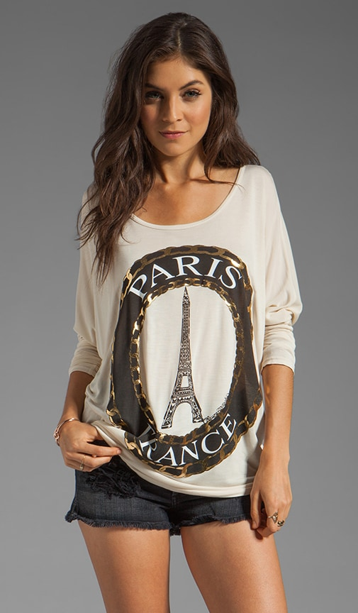 Ruby Foil Paris Cuffed Tee