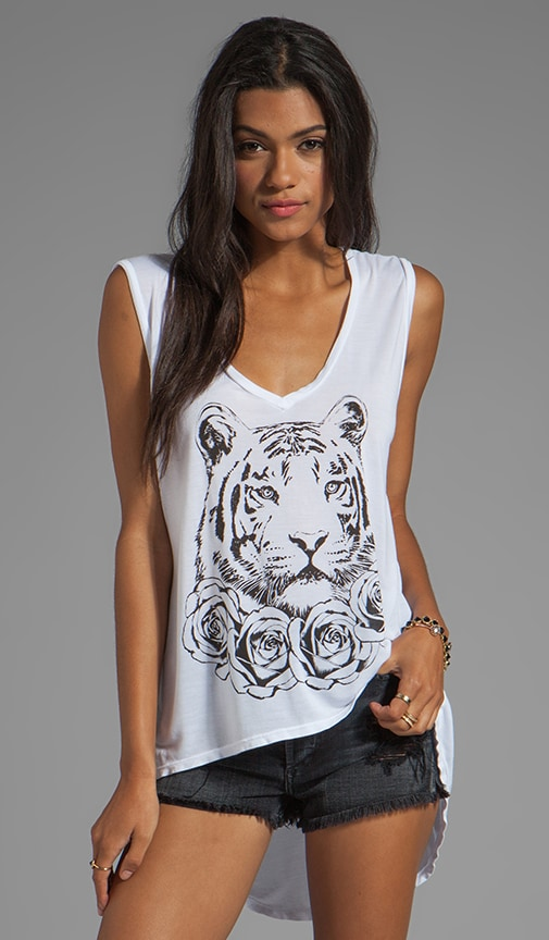 Dana Rose Tiger Asymmetrical V Neck