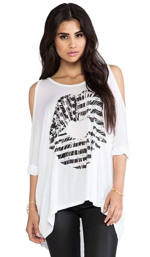 Macy Flag Lip Oversized Open Shoulder Top