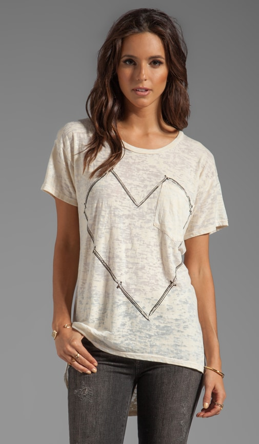 Debbie Large Nail Heart Boyfriend Pocket Tee