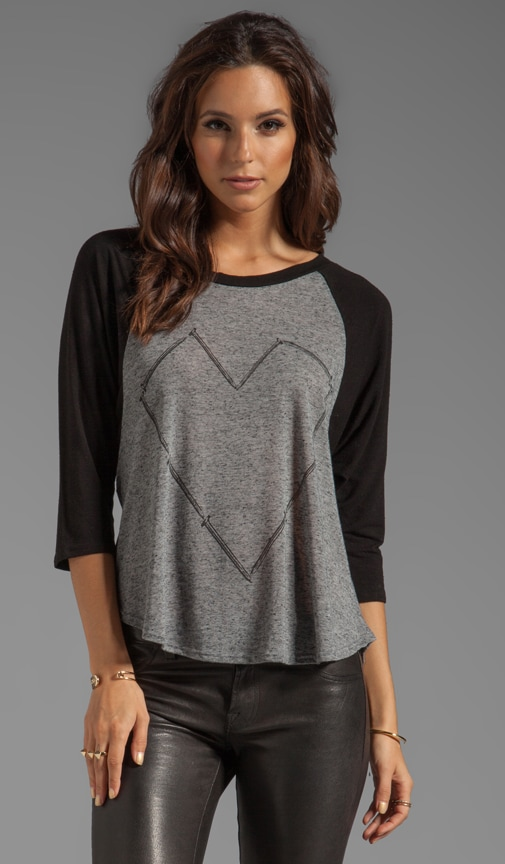 Drew Large Nail Heart Draped Sleeve Raglan Top