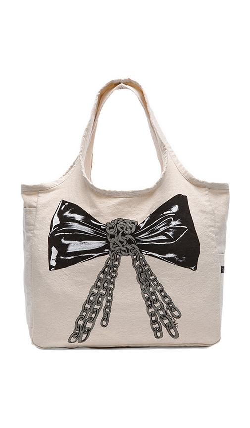 Taylor Color Chain Bow Canvas Tote