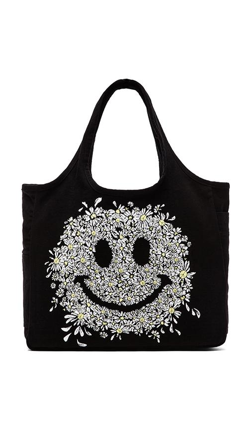 Taylor Small Color Daisy Happy Face Canvas Tote