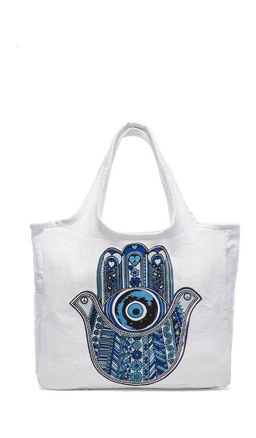 Taylor Med Blue Hamsa Tote Bag