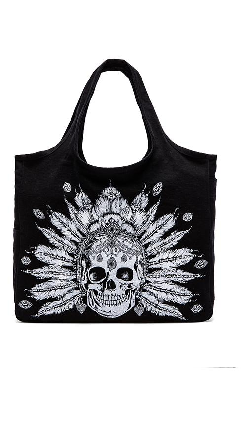 Taylor Feather Chain Skull Canvas Tote Bag