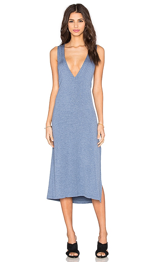 LNA Extreme V Column Dress in Indigo
