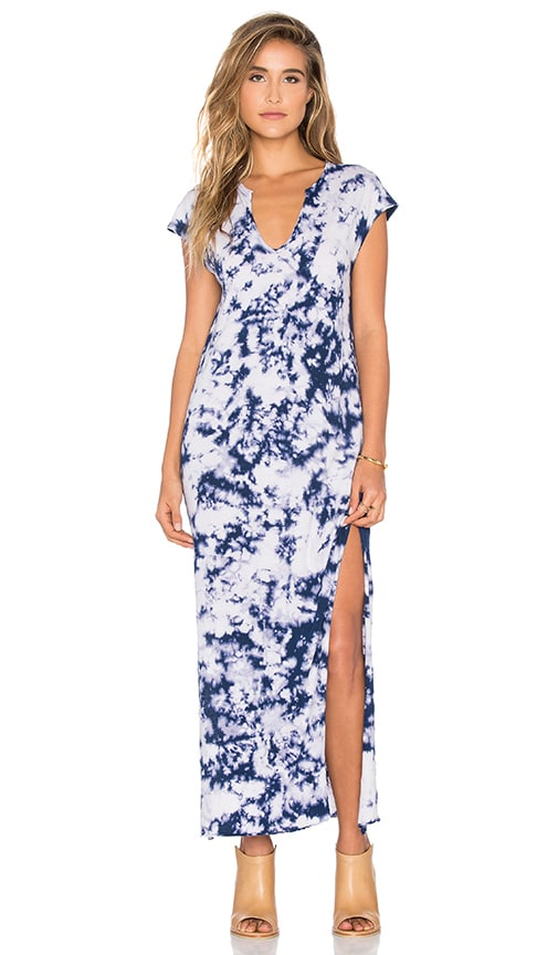 LNA Cap Sleeve V Neck Maxi Dress in Blue Tie Dye