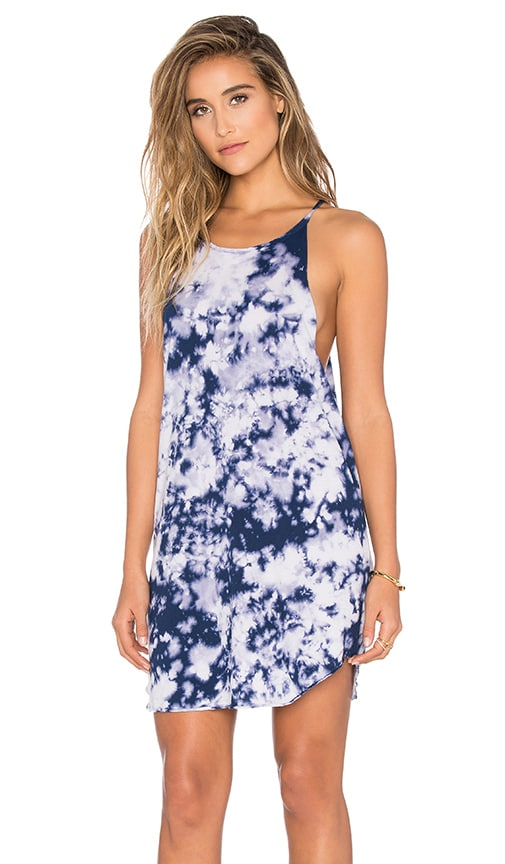 LNA Bib Tank Mini Dress in Blue Tie Dye