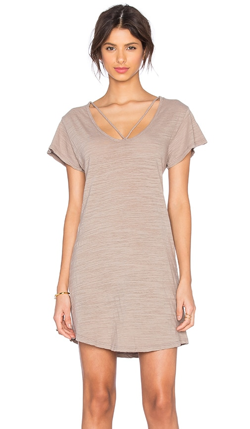 LNA Strappy Tee Dress in Beige