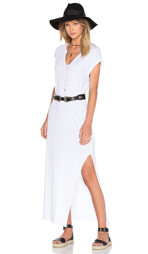 LNA Cap Sleeve V Neck Maxi Dress in White