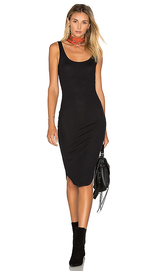 LNA Waffle Tank Dress in Black