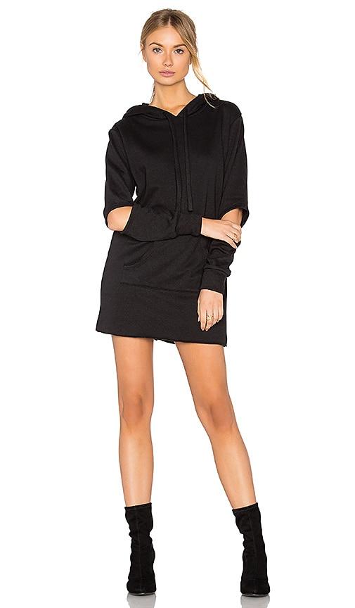 LNA Hoodie Sweatshirt Dress in Black