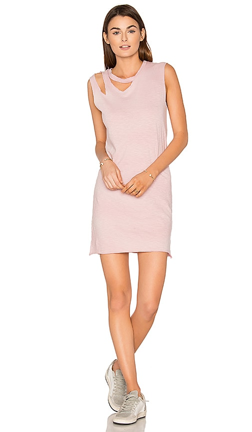 LNA Double Cut Tank Dress in Pink