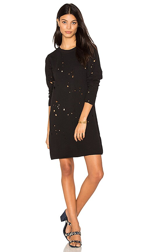 LNA Destroyed Sweatshirt Dress in Black