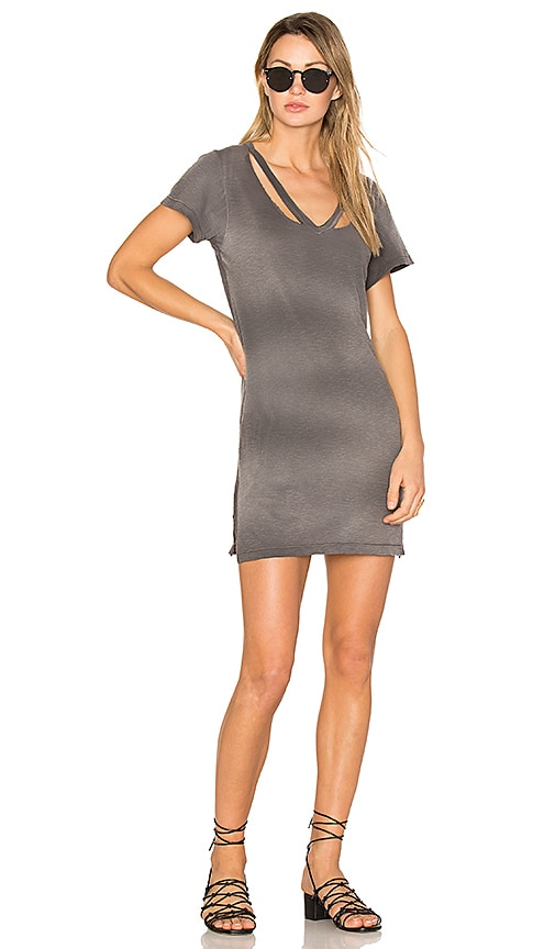 LNA Double Fallon Tee Dress in Gray