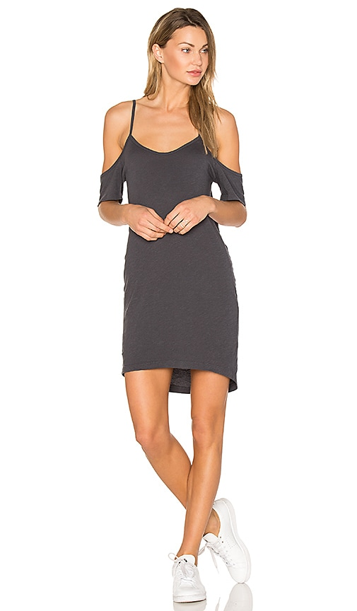 LNA Off the Shoulder Tee Dress in Charcoal