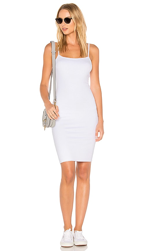LNA Double Layer Tank Dress in White