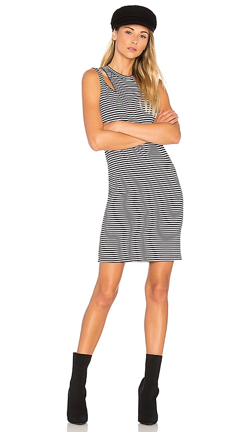 LNA Stripe Slice Tank Dress in Black & White