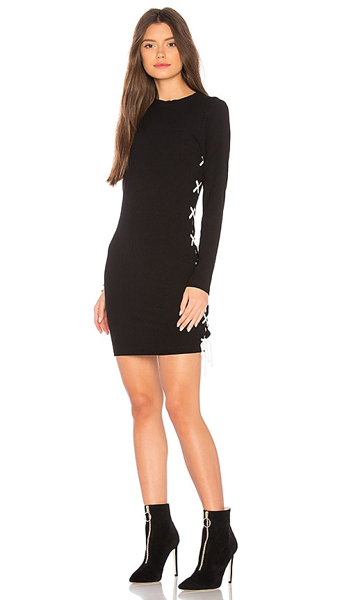 LNA Ruby Lace Up Dress in Black