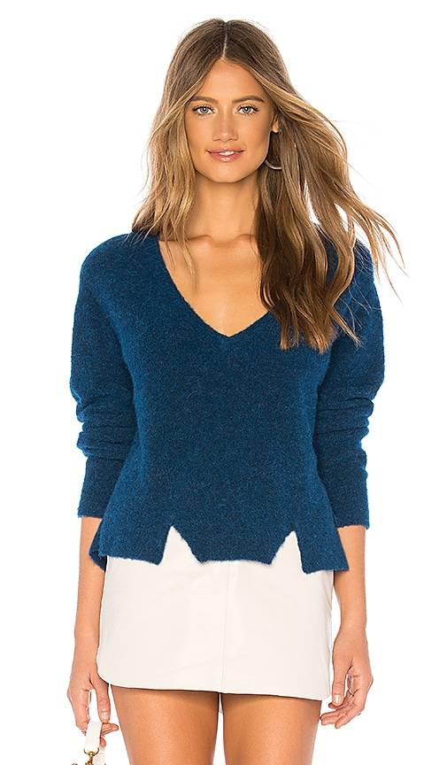 Cropped V Neck Alpaca Sweater