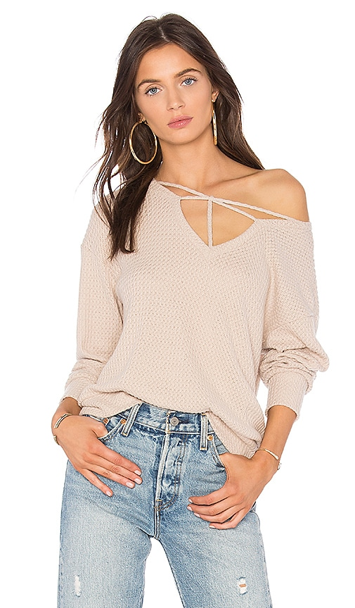 LNA Star Cross Sweater in Beige