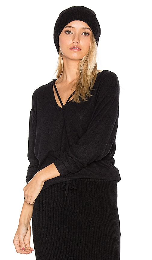 LNA Deep V Strappy Hoodie in Black