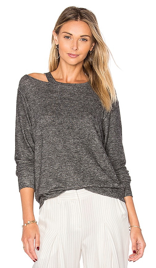 LNA Bolero Cut Out Sweater in Grey