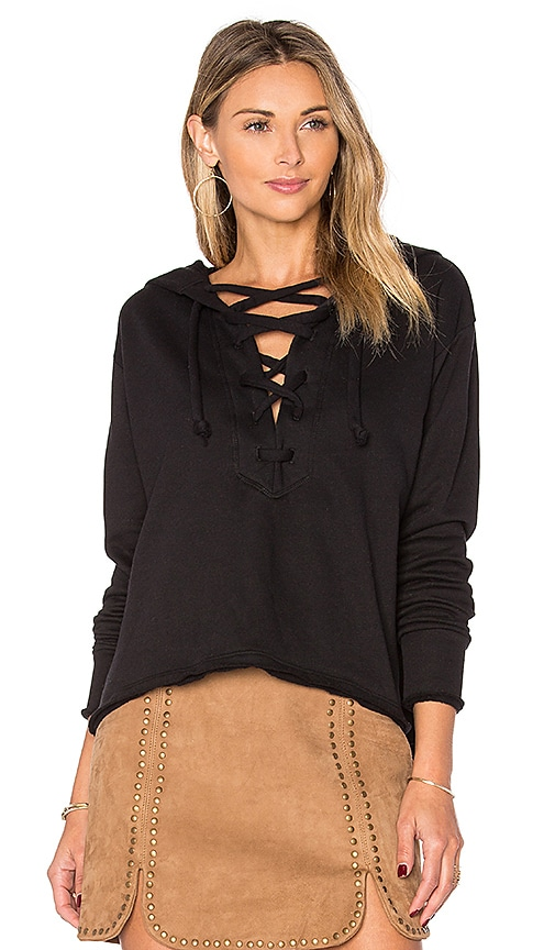 LNA Lace Up Hoodie in Black