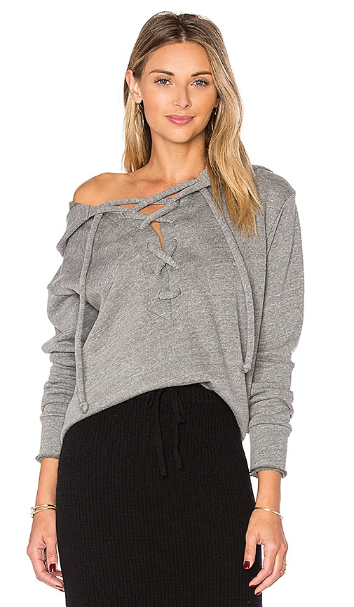 LNA Lace Up Hoodie in Grey