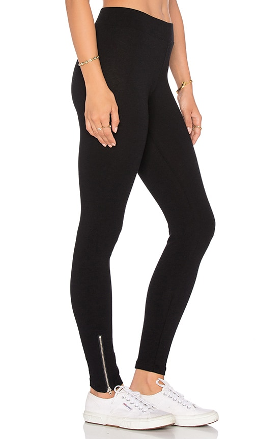 LNA Mid Rise Zipper Legging in Flat Black