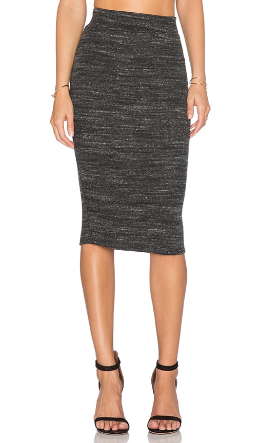 LNA Pernille Fitted Skirt in Heather Black