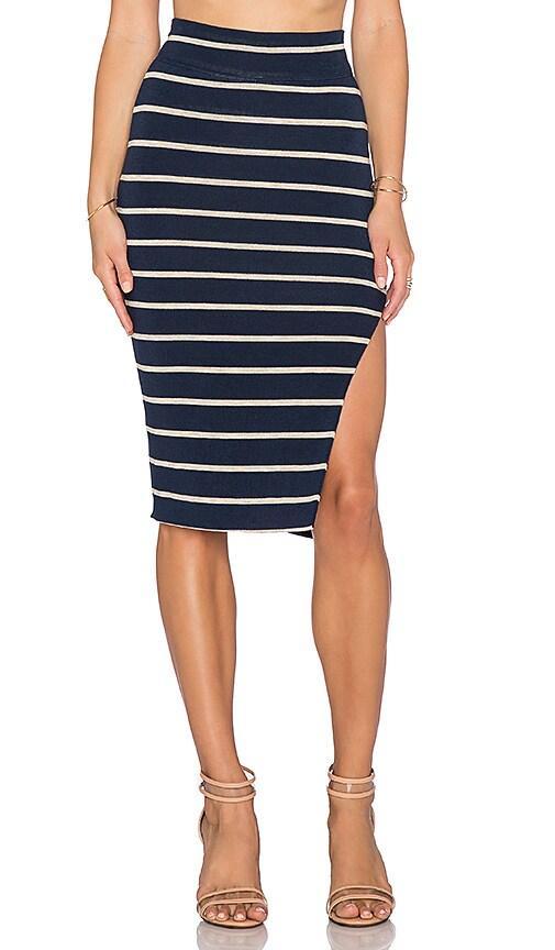 LNA Double Layer Pencil Skirt in Navy & Lino Stripe