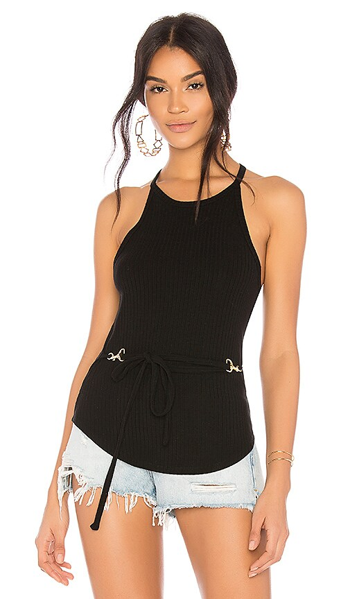 LNA Ria Rib Top in Black