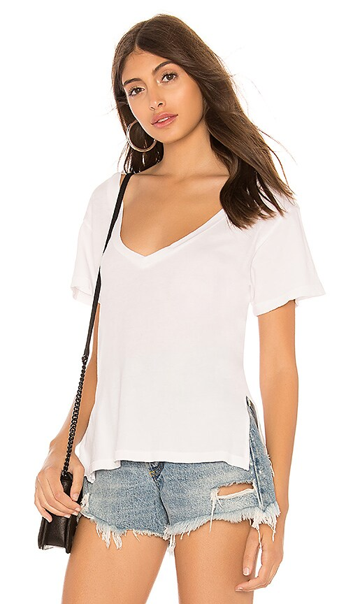 LNA Reese V Neck Tee in White