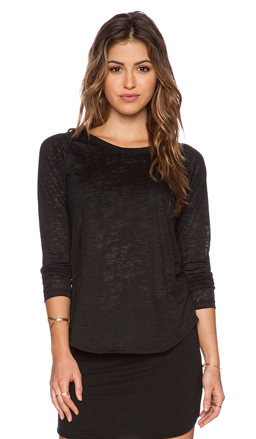 LNA Perry Raglan Tee in Black